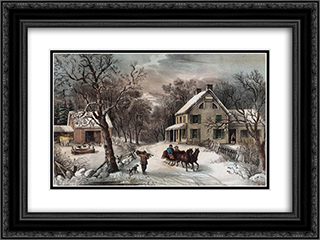 American Homestead Winter 24x18 Black or Gold Ornate Framed and Double Matted Art Print by Currier and Ives