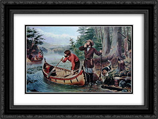 American Hunting Scenes - 'An Early Start' 24x18 Black or Gold Ornate Framed and Double Matted Art Print by Currier and Ives