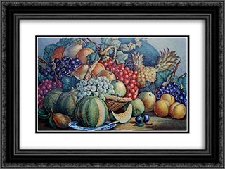 American Prize Fruit 24x18 Black or Gold Ornate Framed and Double Matted Art Print by Currier and Ives