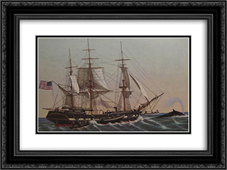 American Whaler 24x18 Black or Gold Ornate Framed and Double Matted Art Print by Currier and Ives