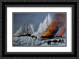 American Whalers Crushed in the Ice 24x18 Black or Gold Ornate Framed and Double Matted Art Print by Currier and Ives