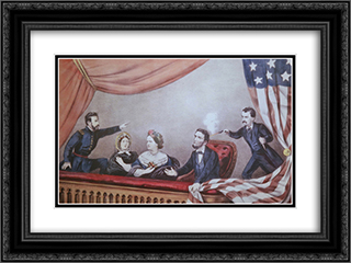 Assassination of Abraham Lincoln 24x18 Black or Gold Ornate Framed and Double Matted Art Print by Currier and Ives