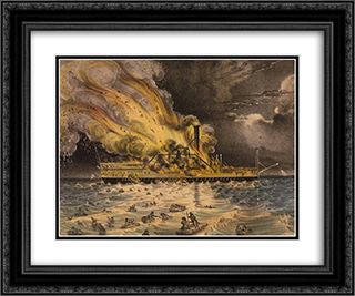 Awful conflagration of the steam boat Lexington in Long Island Sound on Monday eveg., Jany. 13th 1840 24x20 Black or Gold Ornate Framed and Double Matted Art Print by Currier and Ives
