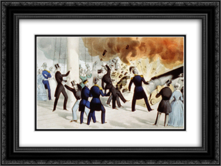Awful explosion of the 'peace-maker' on board the U.S. Steam Frigate Princeton on Wednesday, Feb 28, 1844 24x18 Black or Gold Ornate Framed and Double Matted Art Print by Currier and Ives