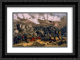 Battle of Fredericksburg 13. Dec 1862 24x18 Black or Gold Ornate Framed and Double Matted Art Print by Currier and Ives