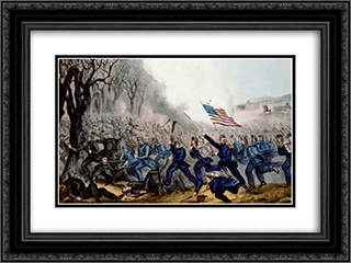 Battle of Mill Spring, Ky. Jan 19th 1862 24x18 Black or Gold Ornate Framed and Double Matted Art Print by Currier and Ives