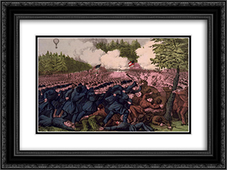 Battle of Seven Pines, Virginia May 31, 1862 24x18 Black or Gold Ornate Framed and Double Matted Art Print by Currier and Ives