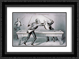 Billiards. A Double Carom 24x18 Black or Gold Ornate Framed and Double Matted Art Print by Currier and Ives