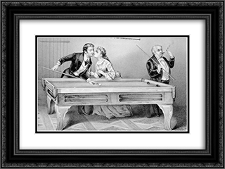 Billiards. A Kiss 24x18 Black or Gold Ornate Framed and Double Matted Art Print by Currier and Ives