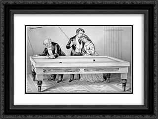 Billiards. Froze together 24x18 Black or Gold Ornate Framed and Double Matted Art Print by Currier and Ives