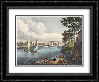 Blackwells Island, East River, From Eighty Sixth Street, New York 24x20 Black or Gold Ornate Framed and Double Matted Art Print by Currier and Ives