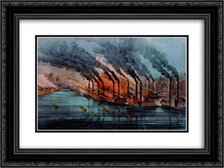Bombardment and capture of Fort Henry, Tenn 1862 24x18 Black or Gold Ornate Framed and Double Matted Art Print by Currier and Ives