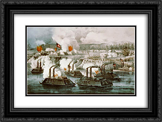 Bombardment and capture of Fort Hindman, Arkansas Post, Ark. Jany 11th 1863 24x18 Black or Gold Ornate Framed and Double Matted Art Print by Currier and Ives