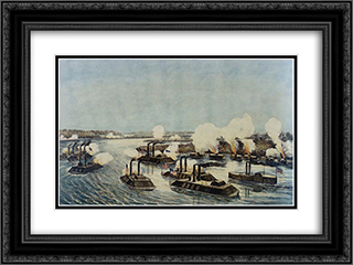 Bombardment and Capture of Island Number Ten on the Mississippi River, April 7, 1862 24x18 Black or Gold Ornate Framed and Double Matted Art Print by Currier and Ives