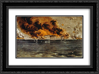 Bombardment of Fort Sumter, Charleston Harbor 12th & 13th of April, 1861 24x18 Black or Gold Ornate Framed and Double Matted Art Print by Currier and Ives
