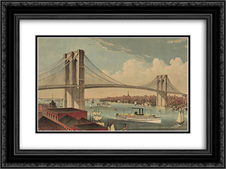Brookyn Bridge 24x18 Black or Gold Ornate Framed and Double Matted Art Print by Currier and Ives