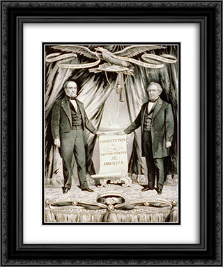Campaign poster for 1860 U.S. presidential candidate John Bell and his running mate, Edward Everett 20x24 Black or Gold Ornate Framed and Double Matted Art Print by Currier and Ives