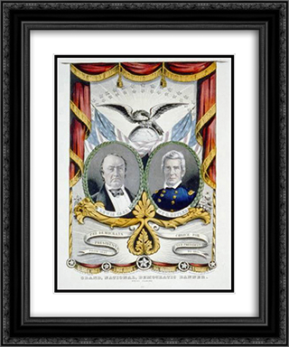 Campaign poster for Democrats 20x24 Black or Gold Ornate Framed and Double Matted Art Print by Currier and Ives