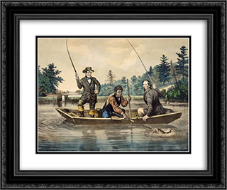 Catching a Trout 24x20 Black or Gold Ornate Framed and Double Matted Art Print by Currier and Ives