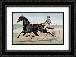 Celebrated trotter Jay Eye See 24x18 Black or Gold Ornate Framed and Double Matted Art Print by Currier and Ives