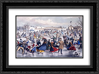 Central Park, Winter. The Skating Pond 24x18 Black or Gold Ornate Framed and Double Matted Art Print by Currier and Ives