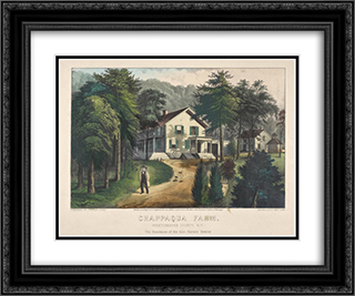 Chappaqua Farm, Westchester County, N.Y., The Residence of Hon. Horace Greeley 24x20 Black or Gold Ornate Framed and Double Matted Art Print by Currier and Ives