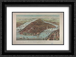 City of New York - Showing the building of the Equitable Life Assurance Society of the United States 24x18 Black or Gold Ornate Framed and Double Matted Art Print by Currier and Ives