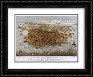 City of San Francisco 24x20 Black or Gold Ornate Framed and Double Matted Art Print by Currier and Ives