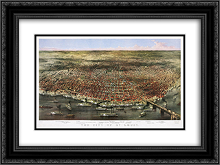 City of St. Louis. Bird's-eye view of St. Louis, Missouri, as seen from above the Mississippi River 24x18 Black or Gold Ornate Framed and Double Matted Art Print by Currier and Ives