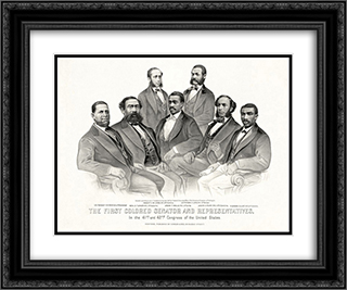 First Colored Senator and Representatives in the 41st and 42nd Congress of the United States 24x20 Black or Gold Ornate Framed and Double Matted Art Print by Currier and Ives