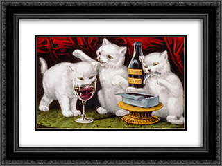 The three jolly kittens at the feast 24x18 Black or Gold Ornate Framed and Double Matted Art Print by Currier and Ives