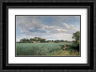 A Bean Field at Pickersleigh, near Malvern, Worcestershire 24x18 Black or Gold Ornate Framed and Double Matted Art Print by David Bates