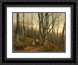 A Beech Wood, Malvern, Worcestershire 24x20 Black or Gold Ornate Framed and Double Matted Art Print by David Bates