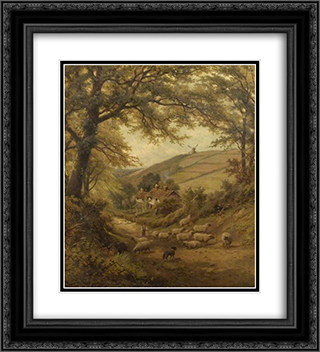 A Dog and a Flock of Sheep 20x22 Black or Gold Ornate Framed and Double Matted Art Print by David Bates