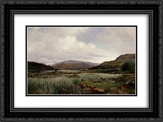 A River Landscape with Reeds, Arthog 24x18 Black or Gold Ornate Framed and Double Matted Art Print by David Bates