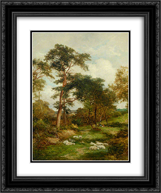 A Warwickshire Lane 20x24 Black or Gold Ornate Framed and Double Matted Art Print by David Bates