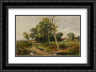 A Worcestershire Lane Scene 24x18 Black or Gold Ornate Framed and Double Matted Art Print by David Bates