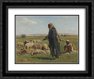 Arab Shepherds 24x20 Black or Gold Ornate Framed and Double Matted Art Print by David Bates