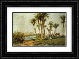 Bedouin at an Oasis with Pyramids 24x18 Black or Gold Ornate Framed and Double Matted Art Print by David Bates