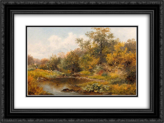 Brook at Old Storridge, Worcestershire 24x18 Black or Gold Ornate Framed and Double Matted Art Print by David Bates