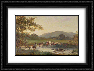 Crossing the Severn 24x18 Black or Gold Ornate Framed and Double Matted Art Print by David Bates