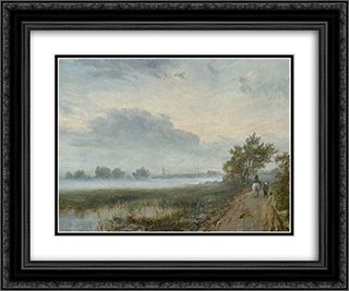 Early Morning on the Severn 24x20 Black or Gold Ornate Framed and Double Matted Art Print by David Bates