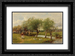Feeding the Geese 24x18 Black or Gold Ornate Framed and Double Matted Art Print by David Bates