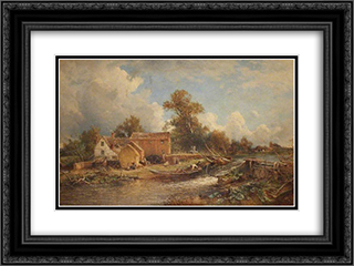 Forge Mill, River Tame 24x18 Black or Gold Ornate Framed and Double Matted Art Print by David Bates