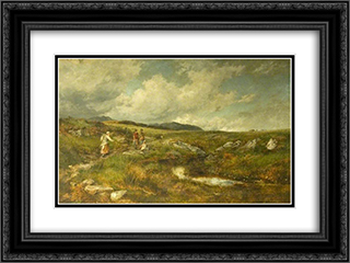 Hay Time on the High Moors 24x18 Black or Gold Ornate Framed and Double Matted Art Print by David Bates