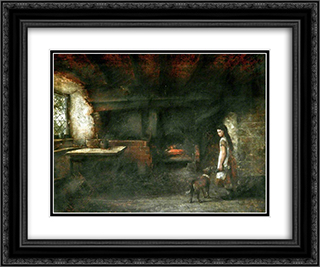 Interior of a Welsh Cottage 24x20 Black or Gold Ornate Framed and Double Matted Art Print by David Bates