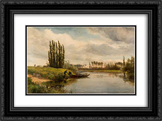 Joinville on the River Marne 24x18 Black or Gold Ornate Framed and Double Matted Art Print by David Bates