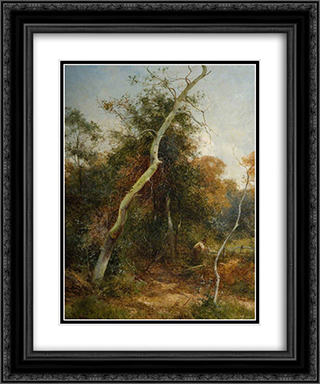 Mending the Fence, Sutton Park 20x24 Black or Gold Ornate Framed and Double Matted Art Print by David Bates