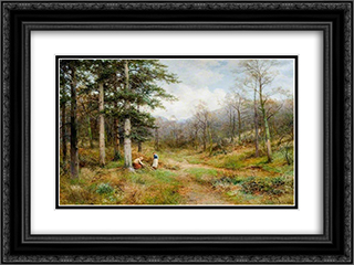 On the Long Mynd, Church Stretton 24x18 Black or Gold Ornate Framed and Double Matted Art Print by David Bates
