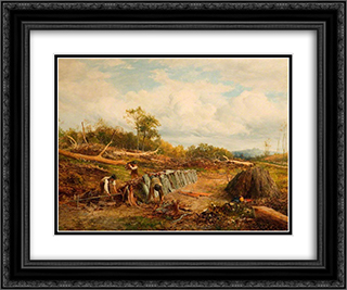 Stacking the Oak Fence 24x20 Black or Gold Ornate Framed and Double Matted Art Print by David Bates
